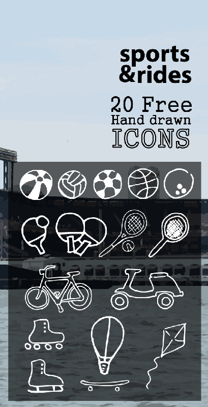 sports-and-rides-20-travel-hand-drawn-icons